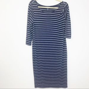 GAP Nautical Navy Grey Striped Fitted Midi Dress M